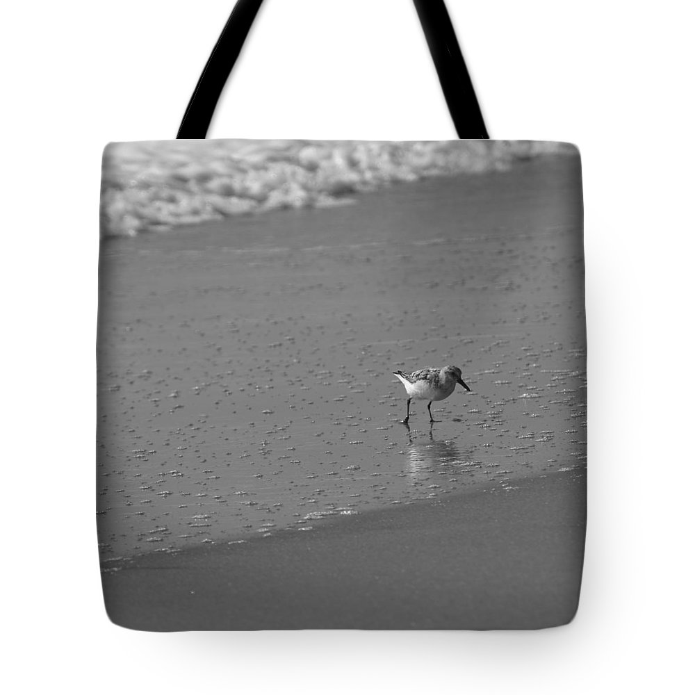 Ocean Tote Bag featuring the photograph Sandpiper Bw2 by Eric Dimeck