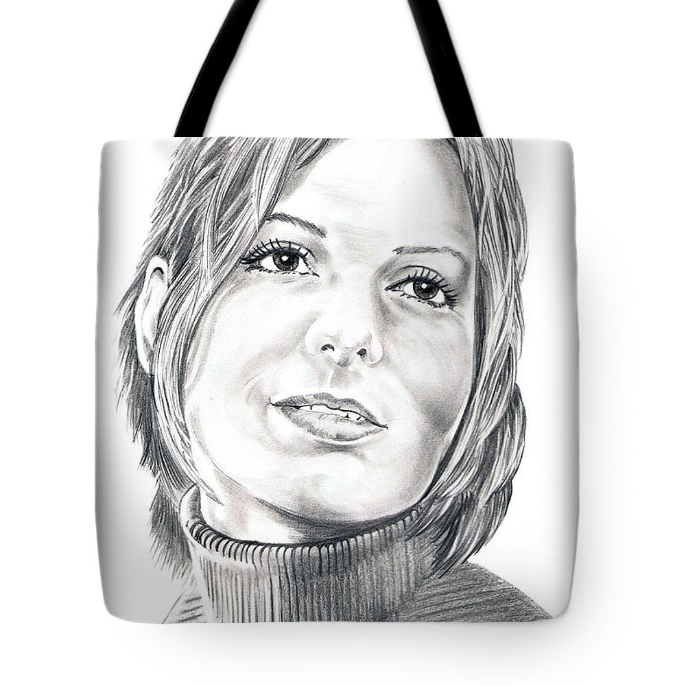 Drawing Tote Bag featuring the drawing Sandra Bullock by Murphy Elliott