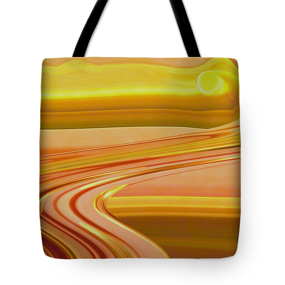 Sunset Art Tote Bag featuring the digital art Sands Of Time by Linda Sannuti