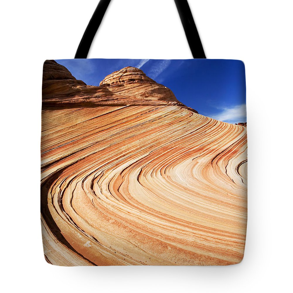 The Wave Tote Bag featuring the photograph Sandstone Slide by Mike Dawson