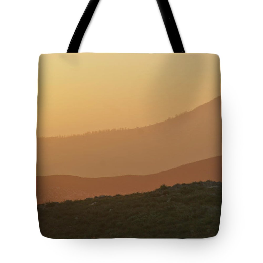 Sandstorm Tote Bag featuring the photograph Sandstorm During Sunset On Old Highway Route 80 by Christine Till