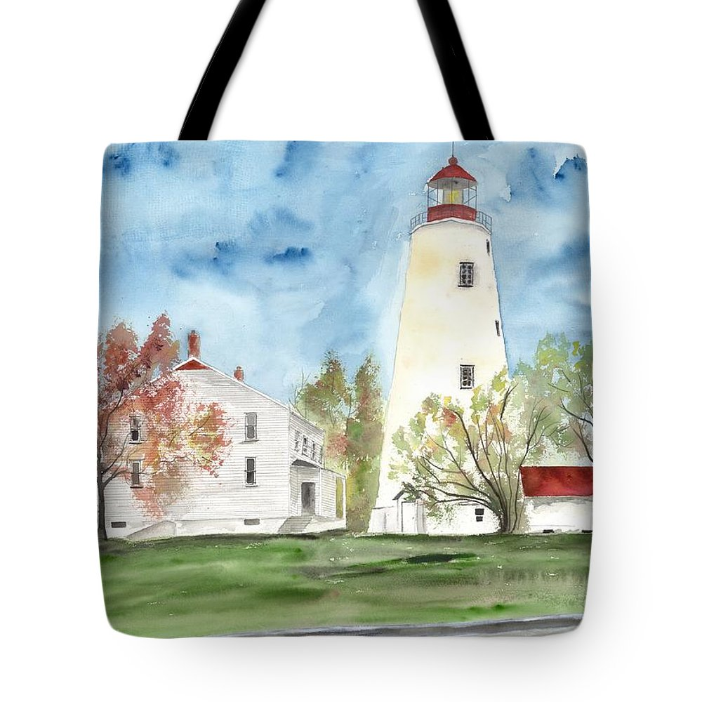 Watercolor Tote Bag featuring the painting Sandy Hook Lighthouse by Derek Mccrea