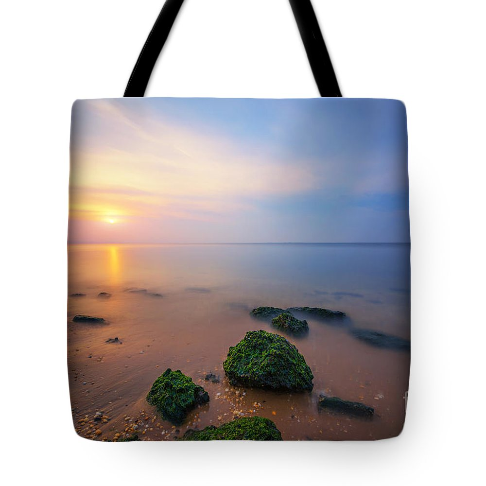 Low Tide Sunset Tote Bag featuring the photograph Sandy Hook New Jersey Sunset by Michael Ver Sprill