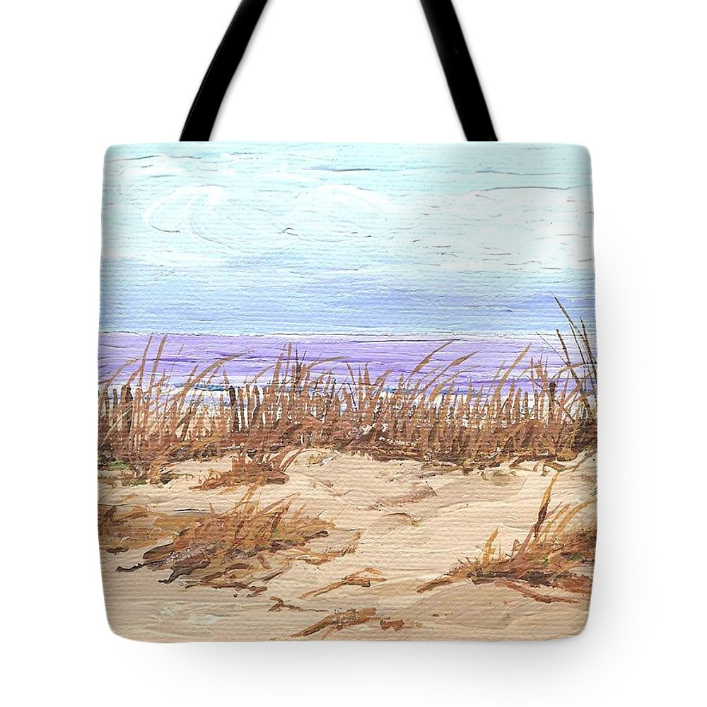 Beach Tote Bag featuring the painting Sandy Path by Keith Wilkie