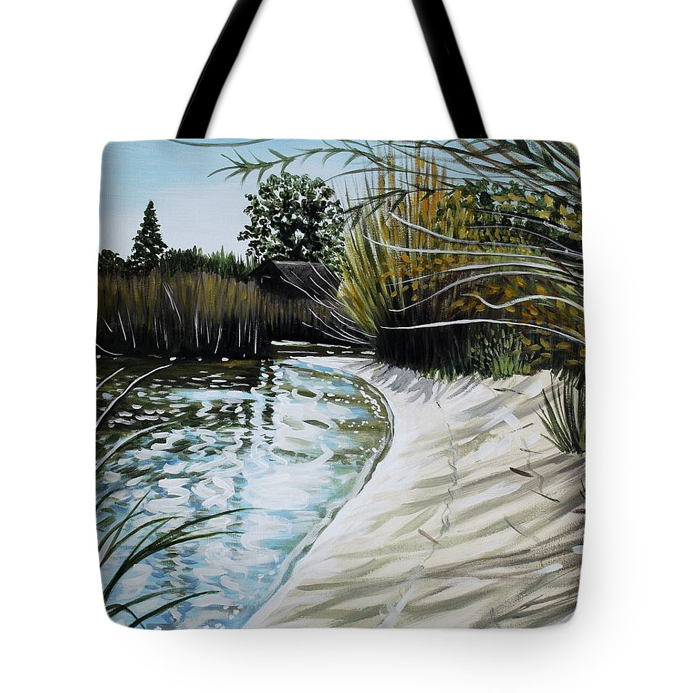 Landscape Tote Bag featuring the painting Sandy Reeds by Elizabeth Robinette Tyndall