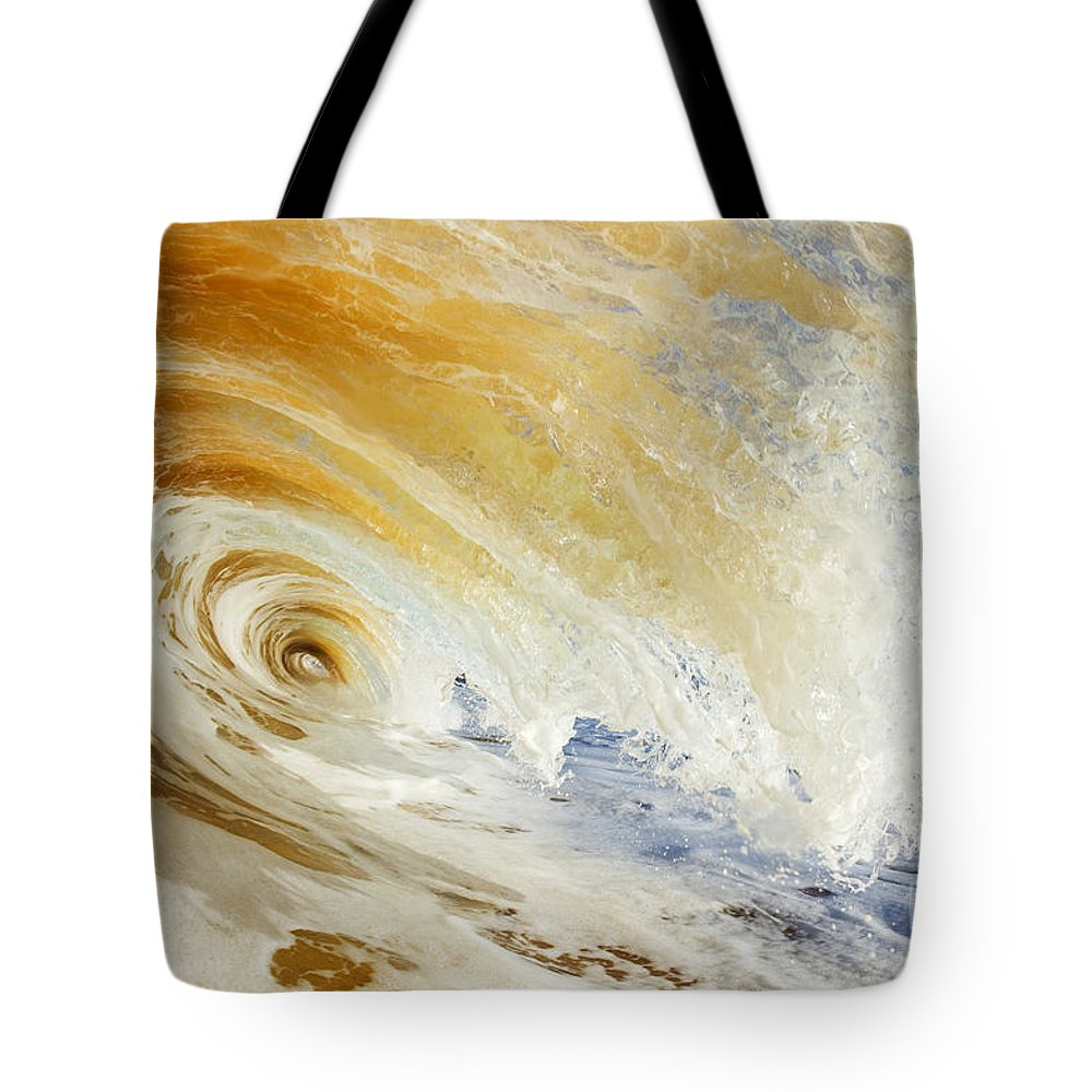 Amazing Tote Bag featuring the photograph Sandy Wave Crashing by MakenaStockMedia - Printscapes