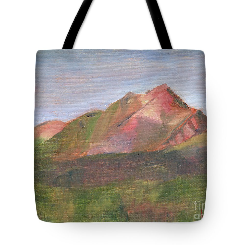 Colorado Tote Bag featuring the painting Sangres I by Lilibeth Andre