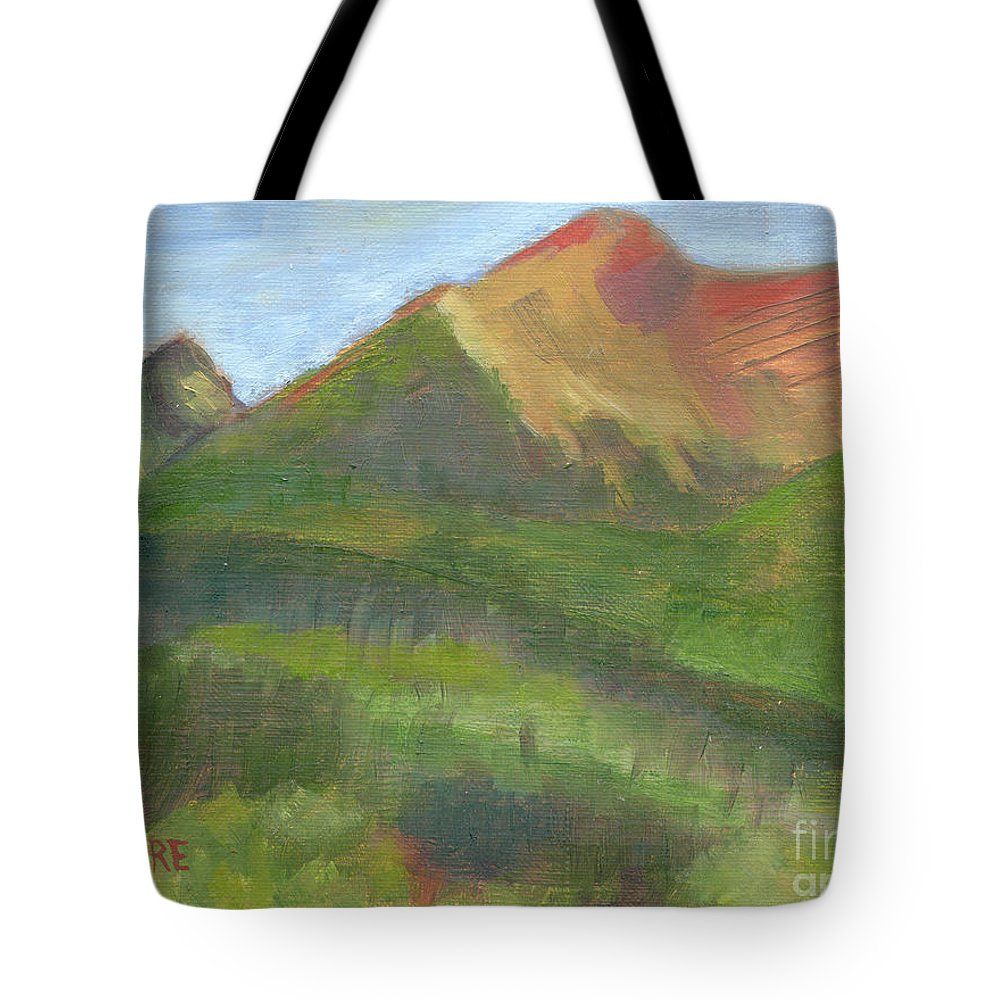 Colorado Tote Bag featuring the painting Sangres II by Lilibeth Andre
