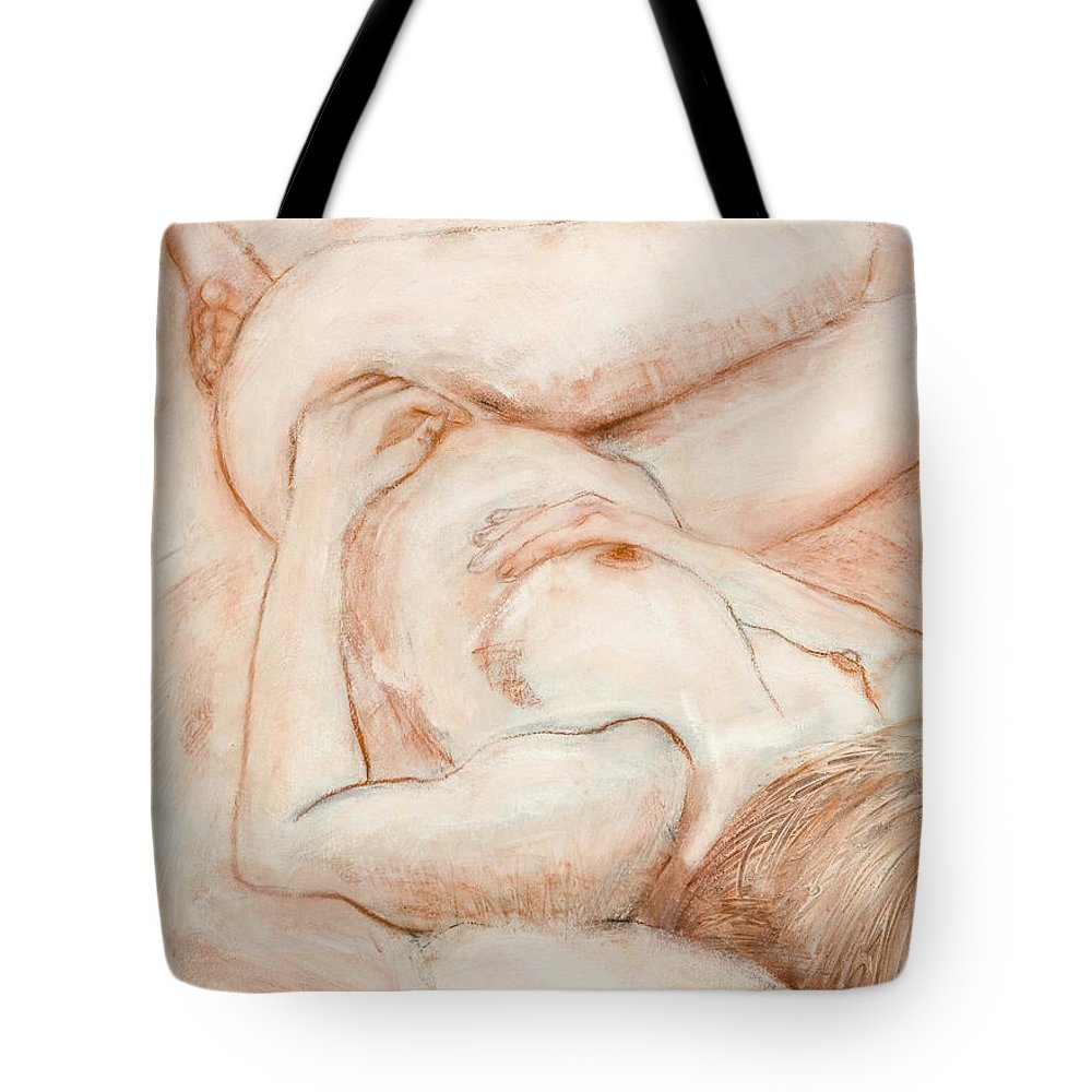 Female Tote Bag featuring the drawing Sanguine Nude by Kerryn Madsen-Pietsch