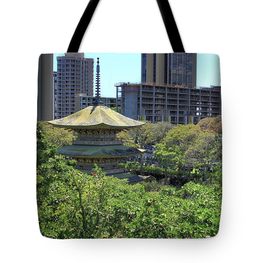 Honolulu Tote Bag featuring the photograph Sanju Pagoda by Susan Rissi Tregoning