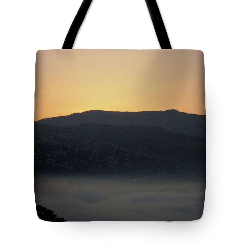 Marwan Tote Bag featuring the photograph Sannin Sunrise by Marwan George Khoury