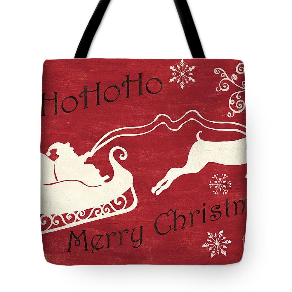 Santa Tote Bag featuring the painting Santa And Reindeer Sleigh by Debbie DeWitt