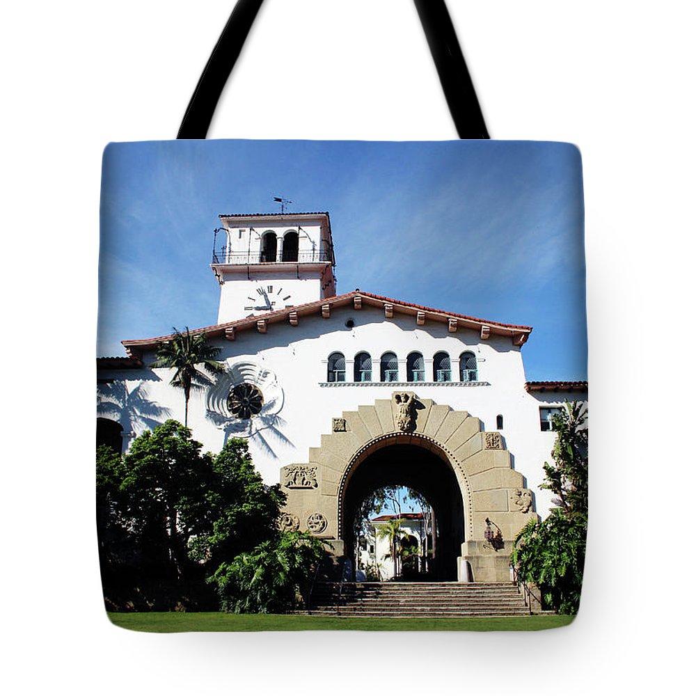 Santa Barbara Tote Bag featuring the mixed media Santa Barbara Courthouse -by Linda Woods by Linda Woods