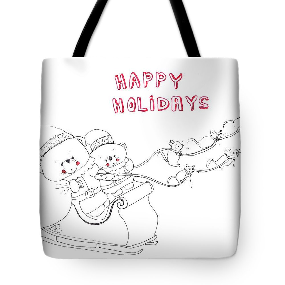 Funny Christmas Tote Bag featuring the drawing Santa Bear by Melanie Sastria