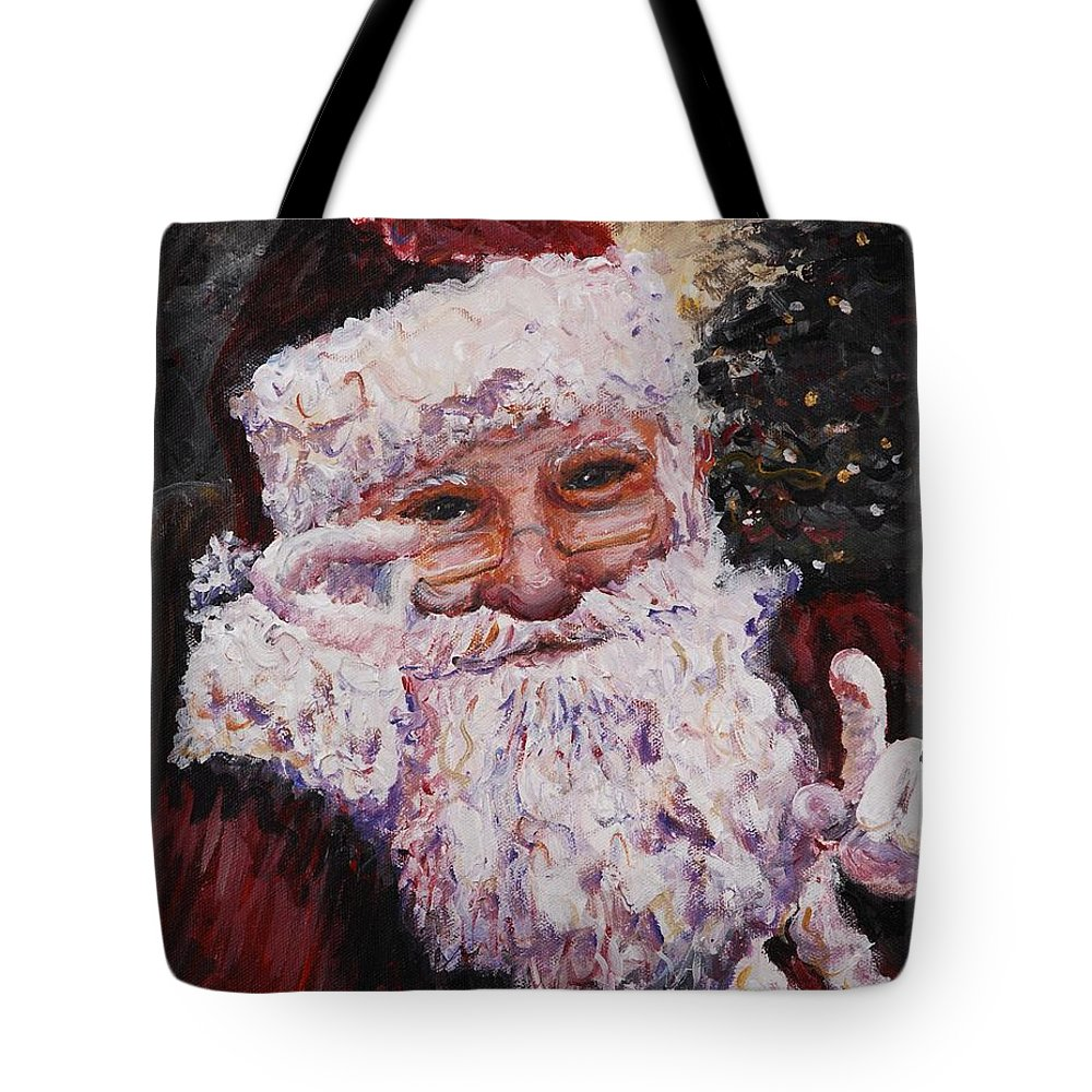 Santa Tote Bag featuring the painting Santa Chat by Nadine Rippelmeyer