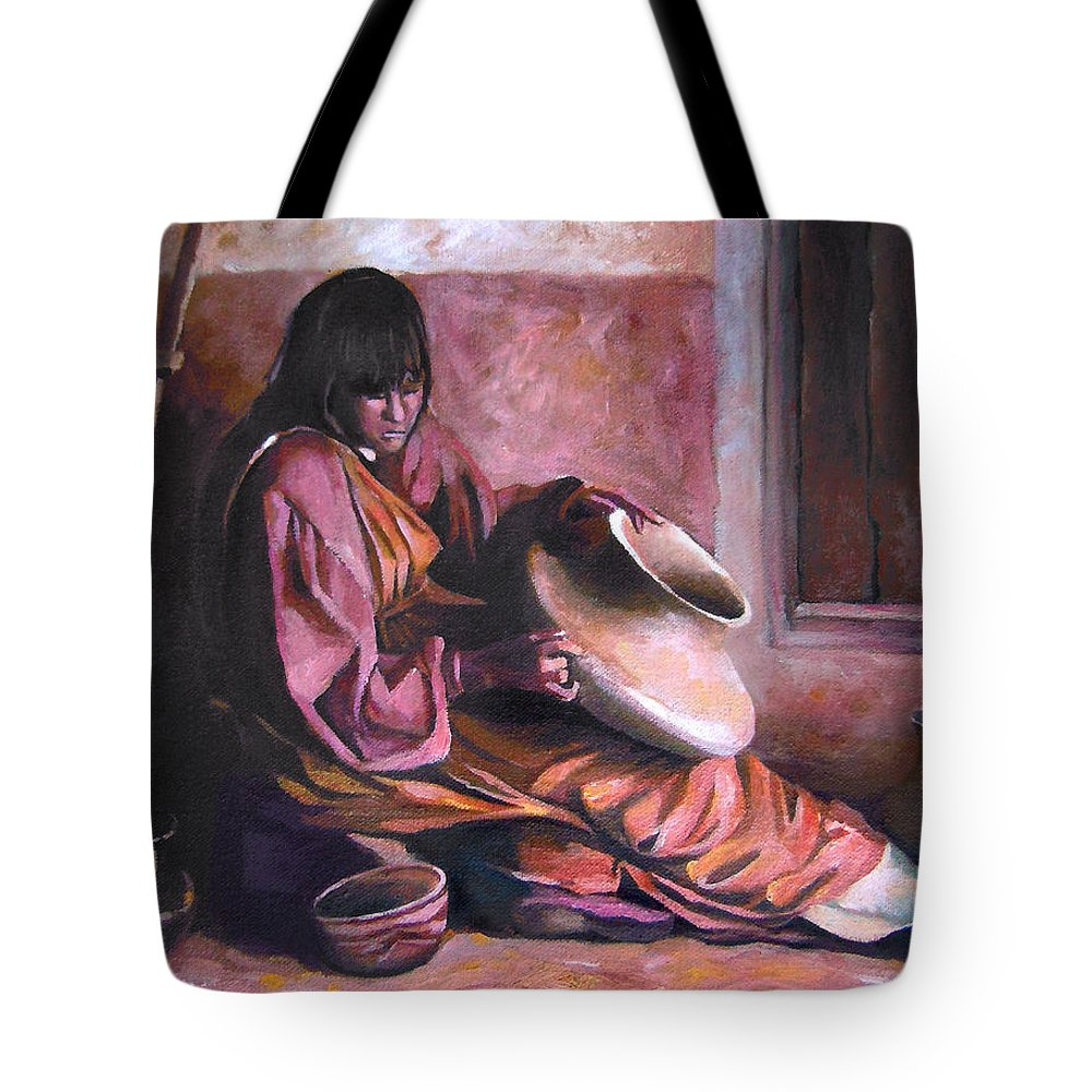 Native American Tote Bag featuring the painting Santa Clara Potter by Nancy Griswold
