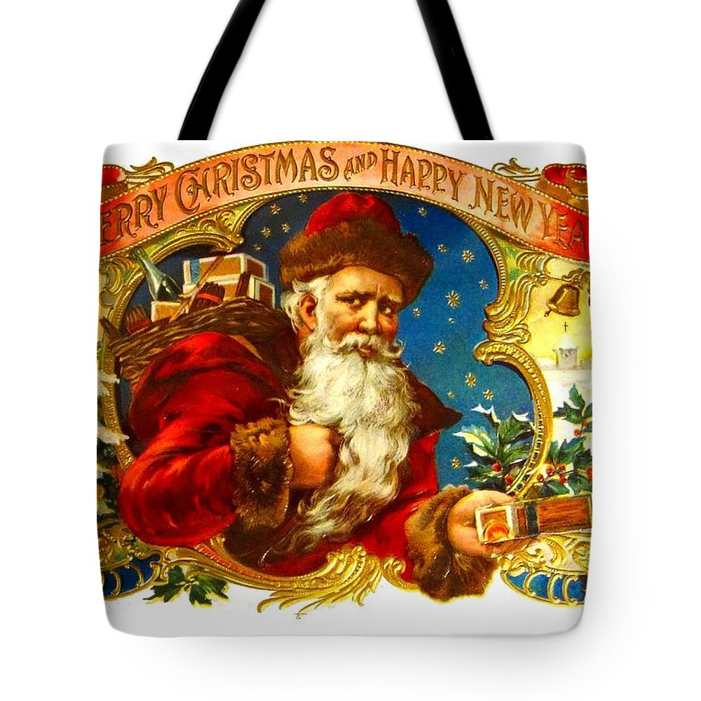 Christmas Tote Bag featuring the photograph Santa Claus Cigar Label by Marianne Dow
