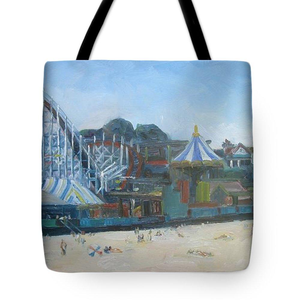 Santa Cruz Tote Bag featuring the painting Santa Cruz Boardwalk by John Kilduff
