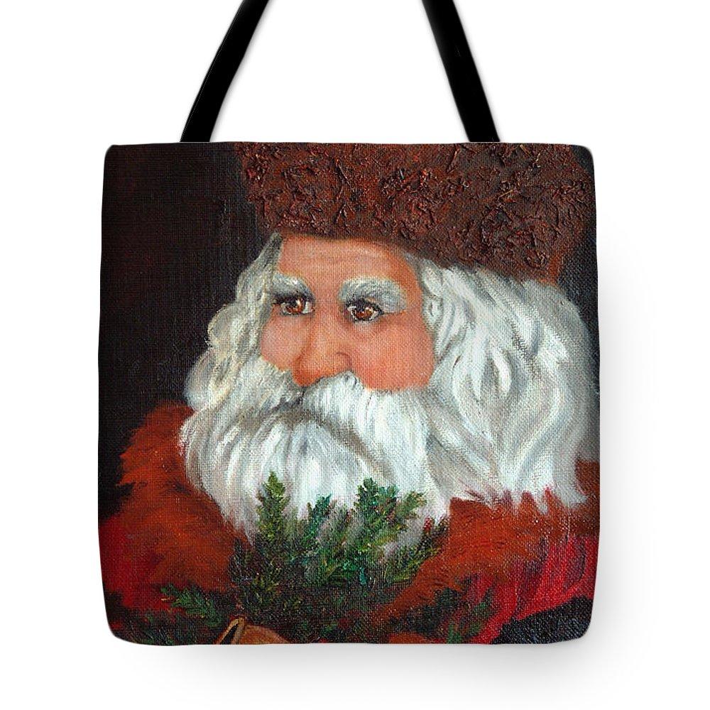 Santa Tote Bag featuring the painting Santa by Enzie Shahmiri