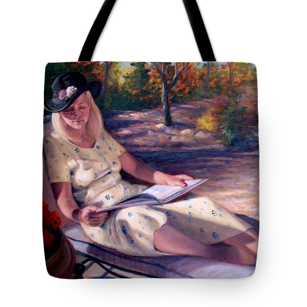 Realism Tote Bag featuring the painting Santa Fe Garden 1 by Donelli DiMaria