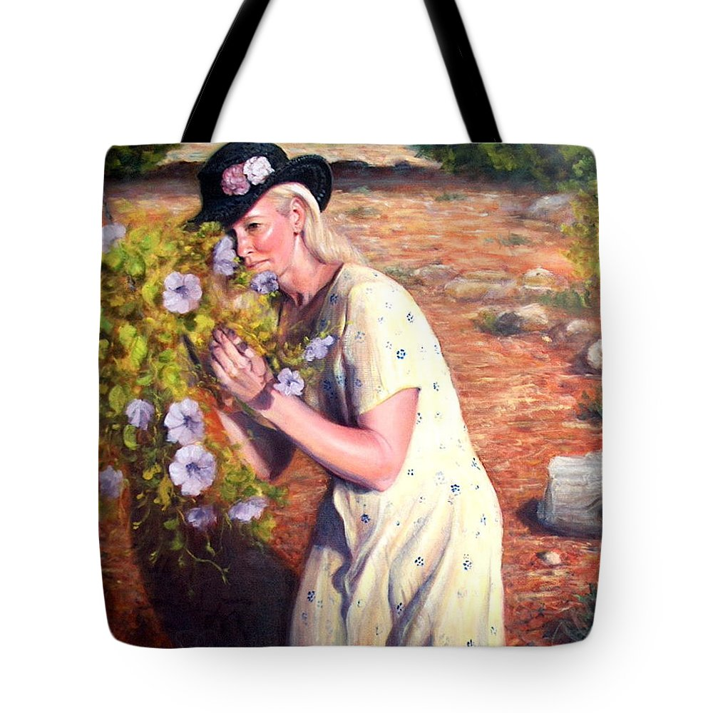 Realism Tote Bag featuring the painting Santa Fe Garden 2  by Donelli DiMaria