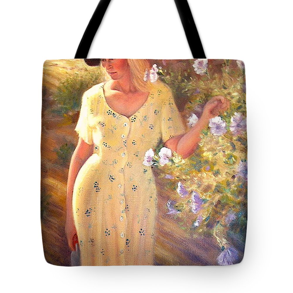 Realism Tote Bag featuring the painting Santa Fe Garden 3  by Donelli DiMaria
