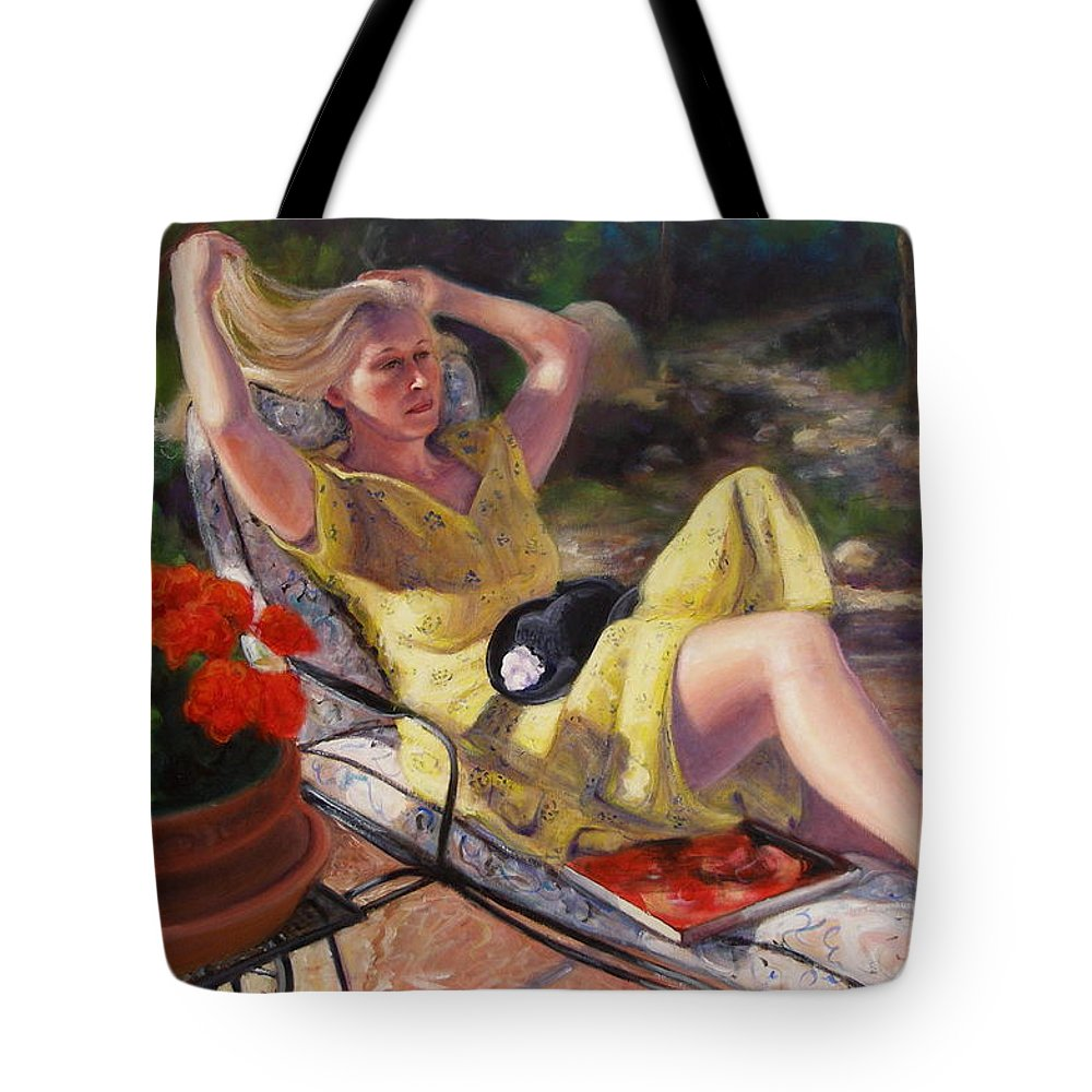 Realism Tote Bag featuring the painting Santa Fe Garden 4 by Donelli DiMaria