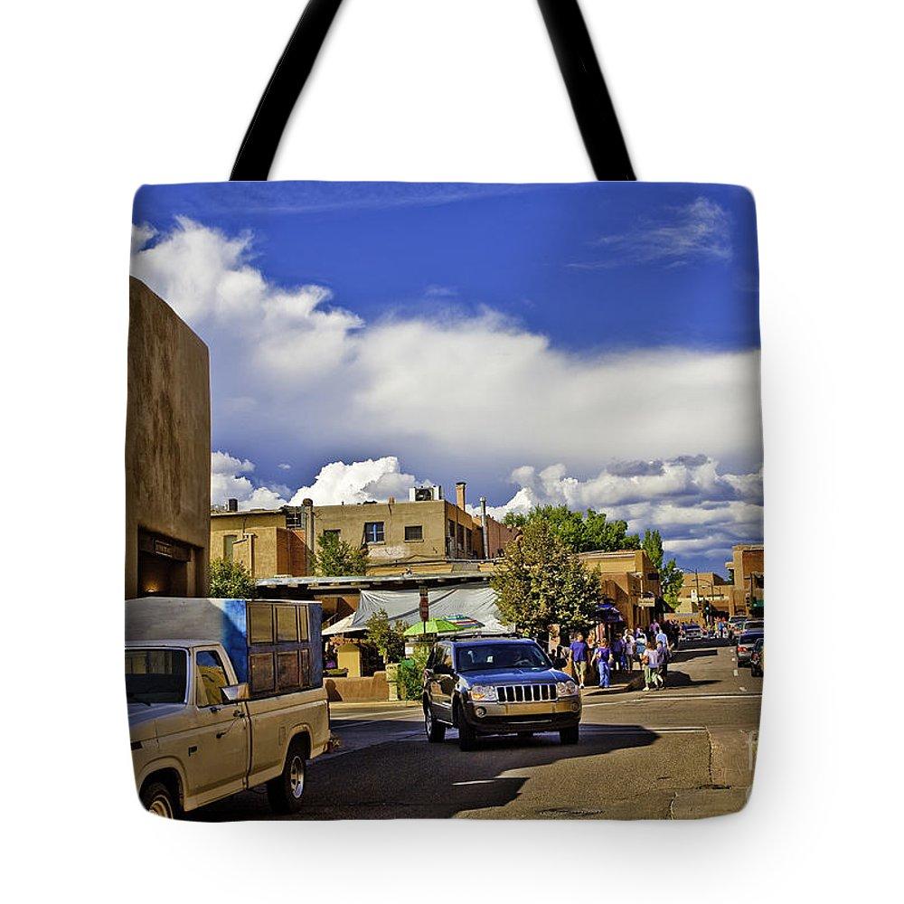 Santa Fe Tote Bag featuring the photograph Santa Fe Plaza 2 by Madeline Ellis