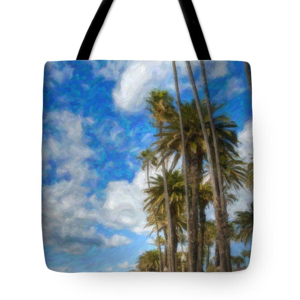 Looking North Tote Bag featuring the photograph Santa Monica Ca Palisades Park Bluffs Palm Trees by David Zanzinger