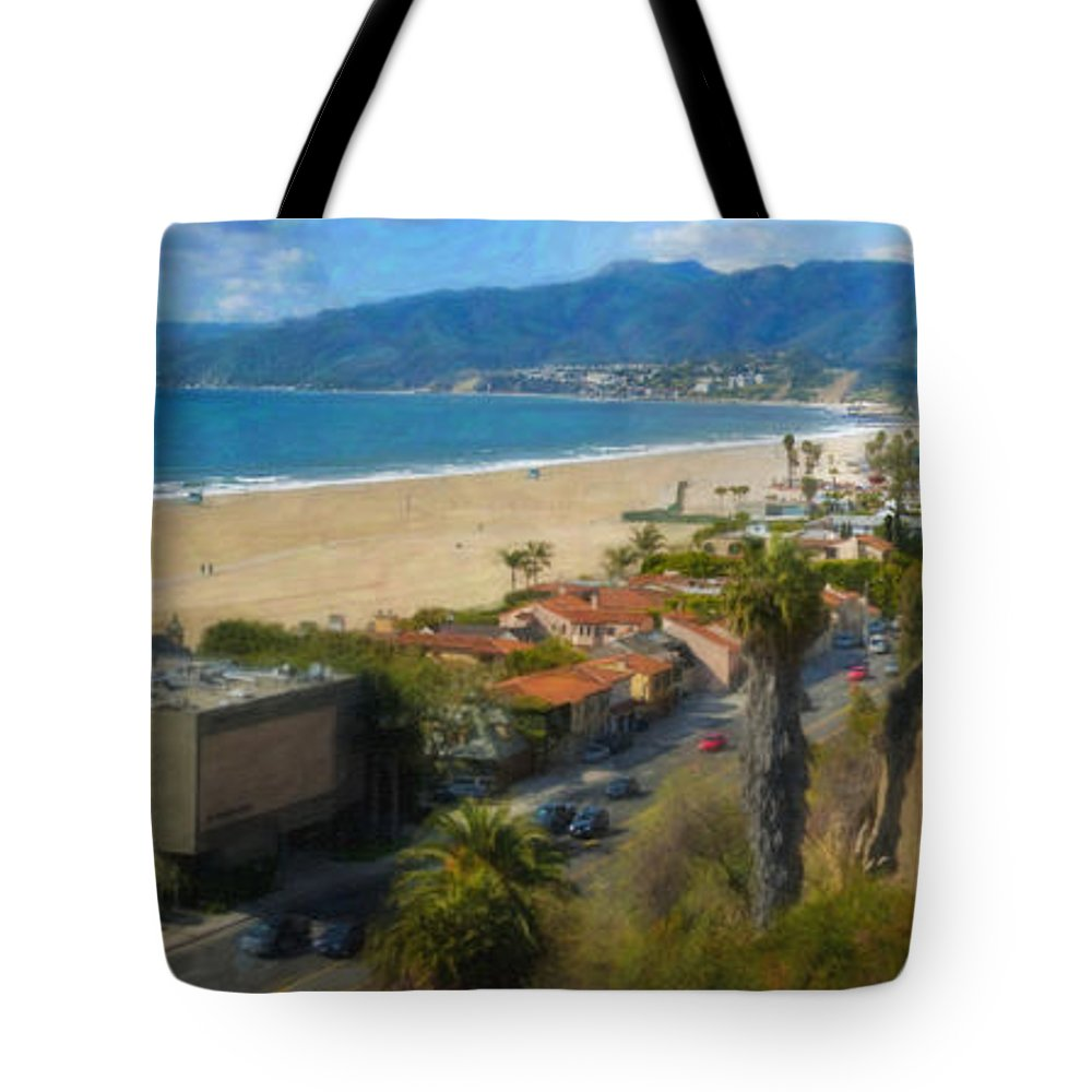 Santa Monica Tote Bag featuring the photograph Santa Monica Ca Steps Palisades Park Bluffs by David Zanzinger