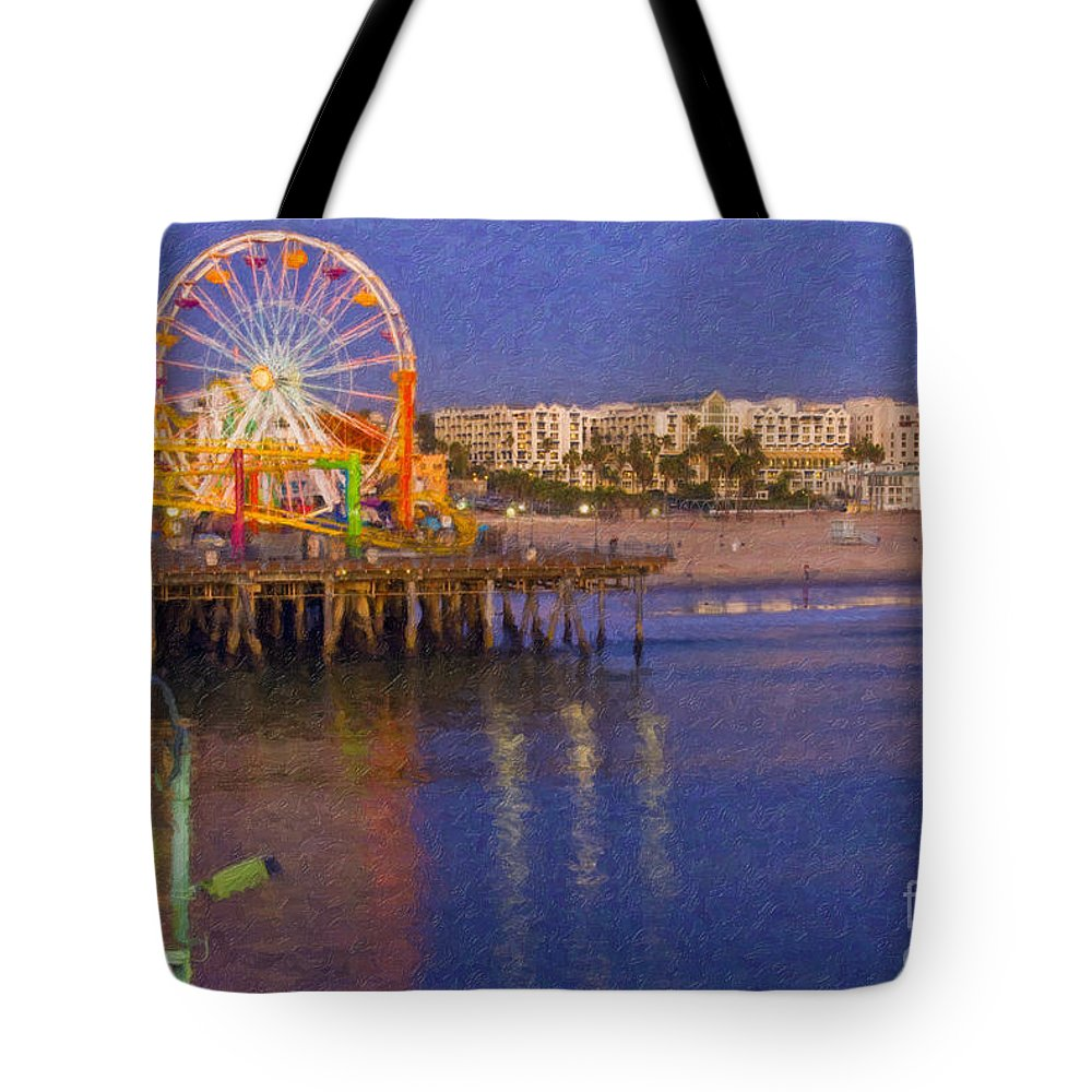Santa Monica Tote Bag featuring the photograph Santa Monica Pacific Park Pier And Lowes Hotel by David Zanzinger