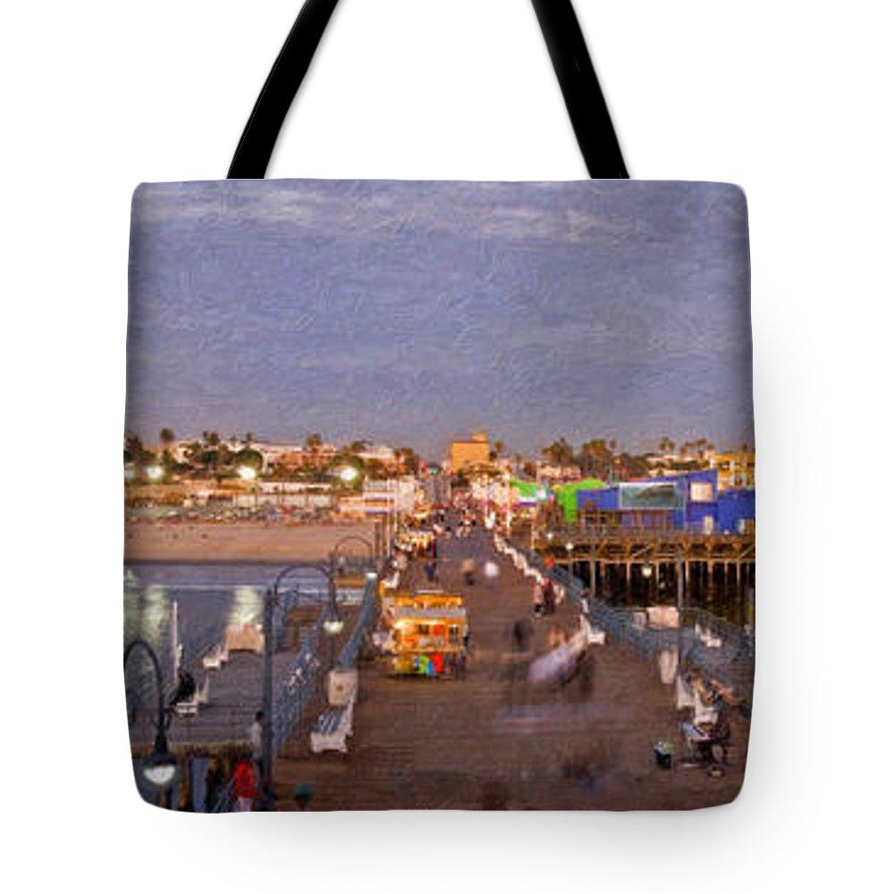 Santa Monica Pacific Park Pier Sunset Panoramic Tote Bag featuring the photograph Santa Monica Pacific Park Pier Skyline Panoramic by David Zanzinger