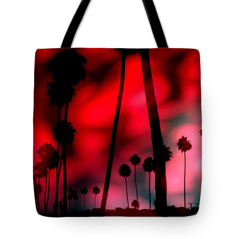 Sunrise Tote Bag featuring the digital art Santa Monica Palms Fiery Red Sunrise Silhouette by Abstract Angel Artist Stephen K