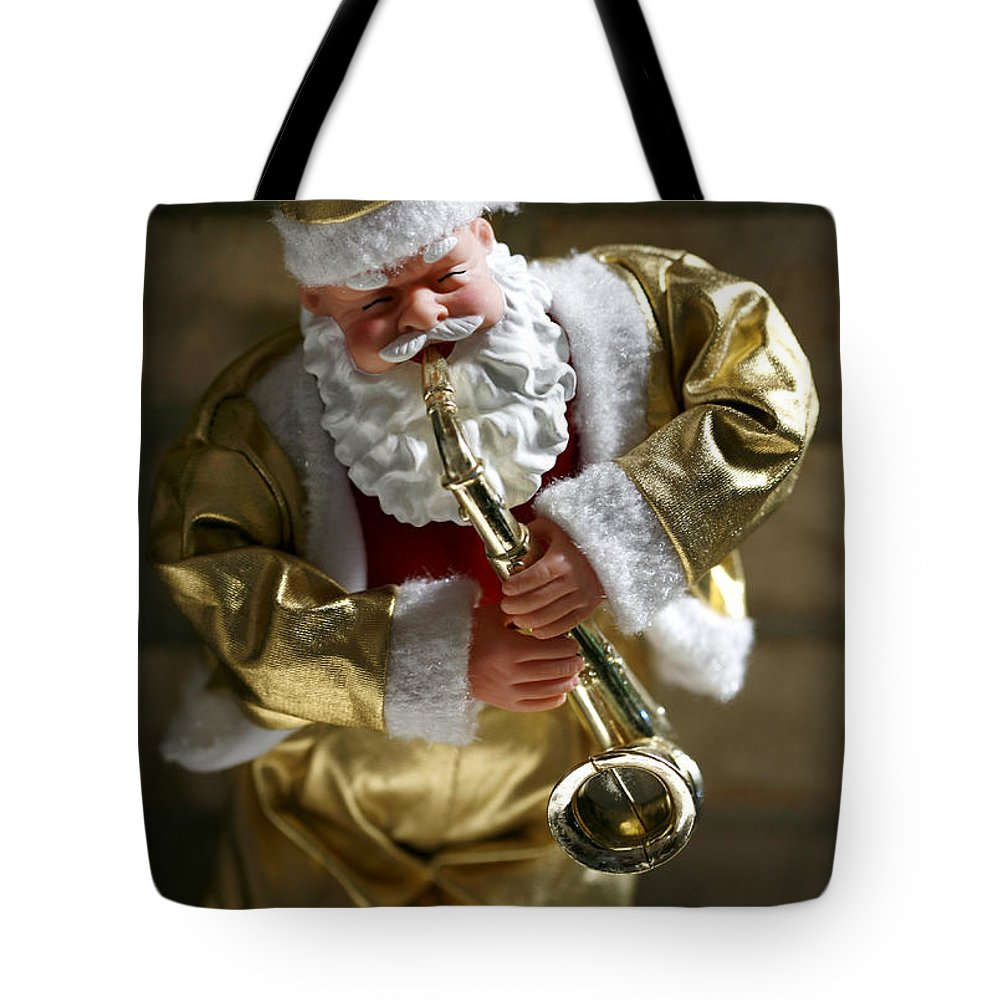 Americana Tote Bag featuring the photograph Santa Playing The Saxaphone by Marilyn Hunt