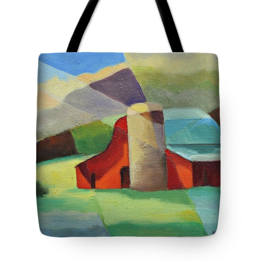 Coloful Abstract Red Barn Tote Bag featuring the painting Clayton Winery by Ginger Concepcion