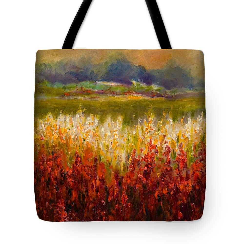 Landscape Tote Bag featuring the painting Santa Rosa Valley by Shannon Grissom
