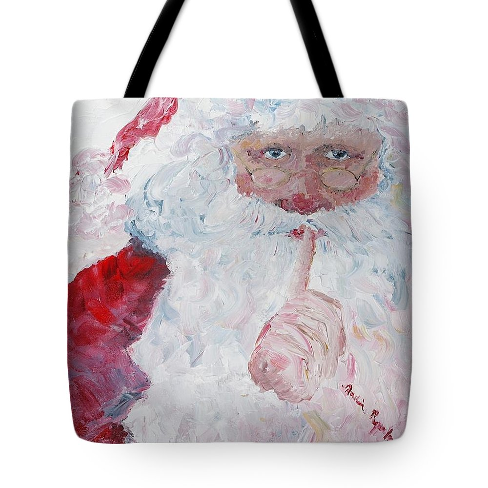 Santa Tote Bag featuring the painting Santa Shhhh by Nadine Rippelmeyer