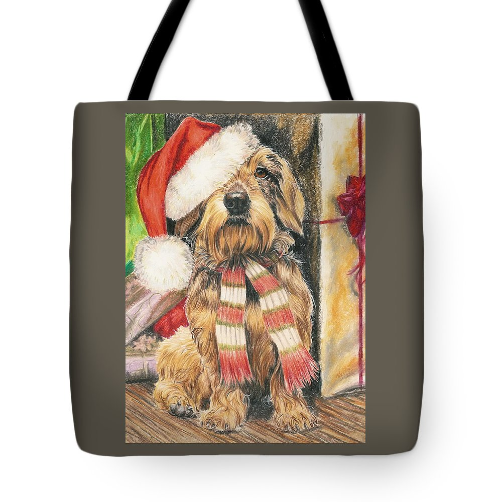 Hound Group Tote Bag featuring the drawing Santas Little Yelper by Barbara Keith