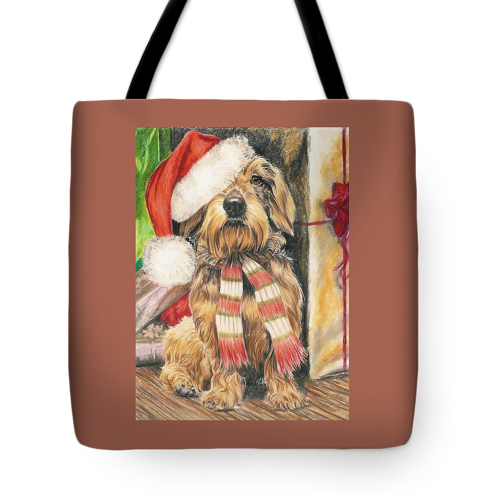 Dogs Tote Bag featuring the drawing Santas Little Yelper by Barbara Keith