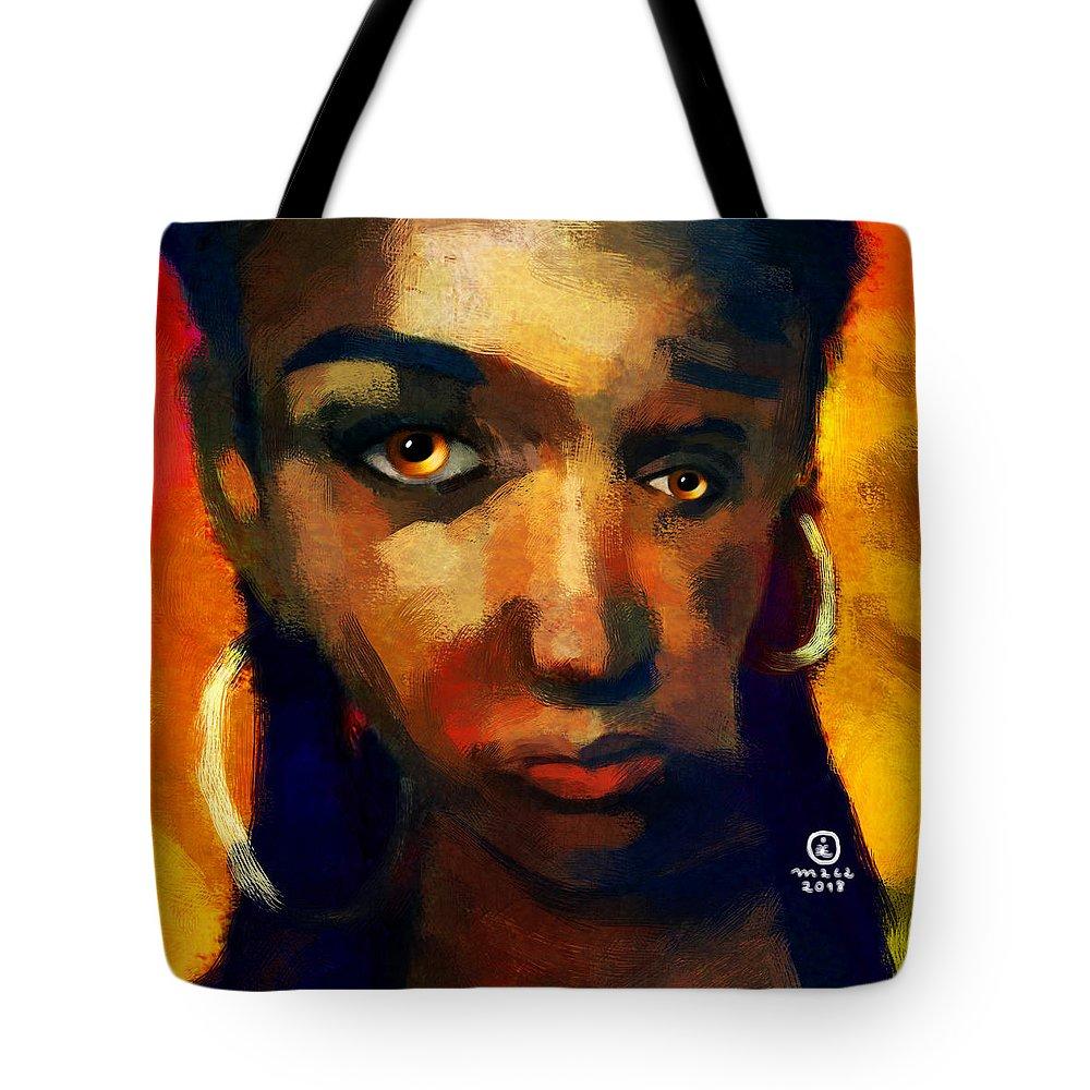 Woman Tote Bag featuring the painting Santia In Orange 726 by Maciej Mackiewicz