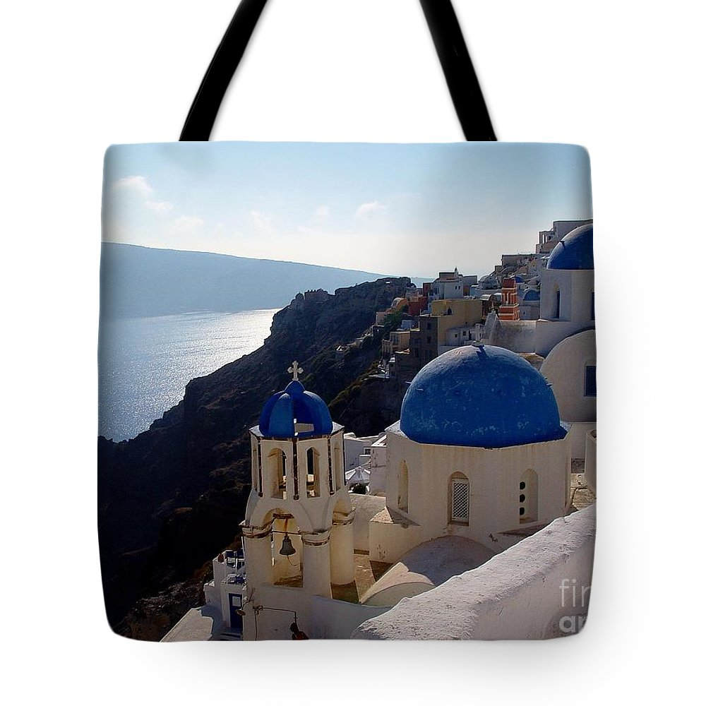 Blue Domed Roofs Tote Bag featuring the photograph Santorini Greece by Nancy Bradley