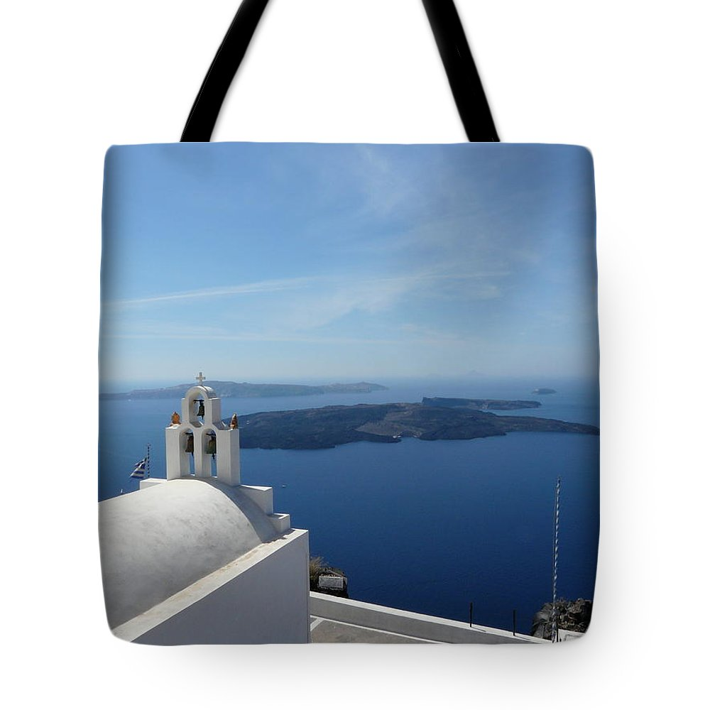 Landscape Tote Bag featuring the photograph Santorini Greece by Valerie Ornstein