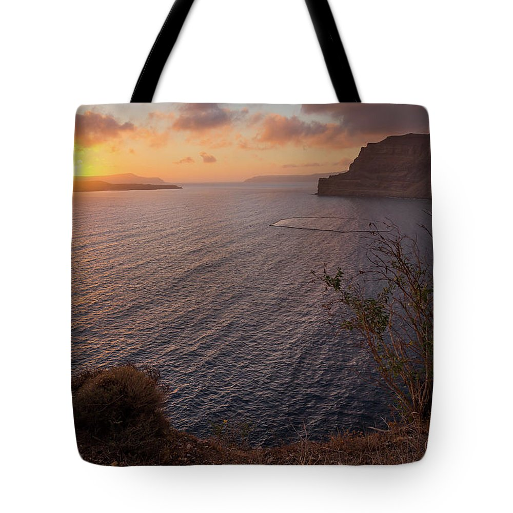 Island Tote Bag featuring the photograph Santorini Sunset Caldera by BBrave Photo