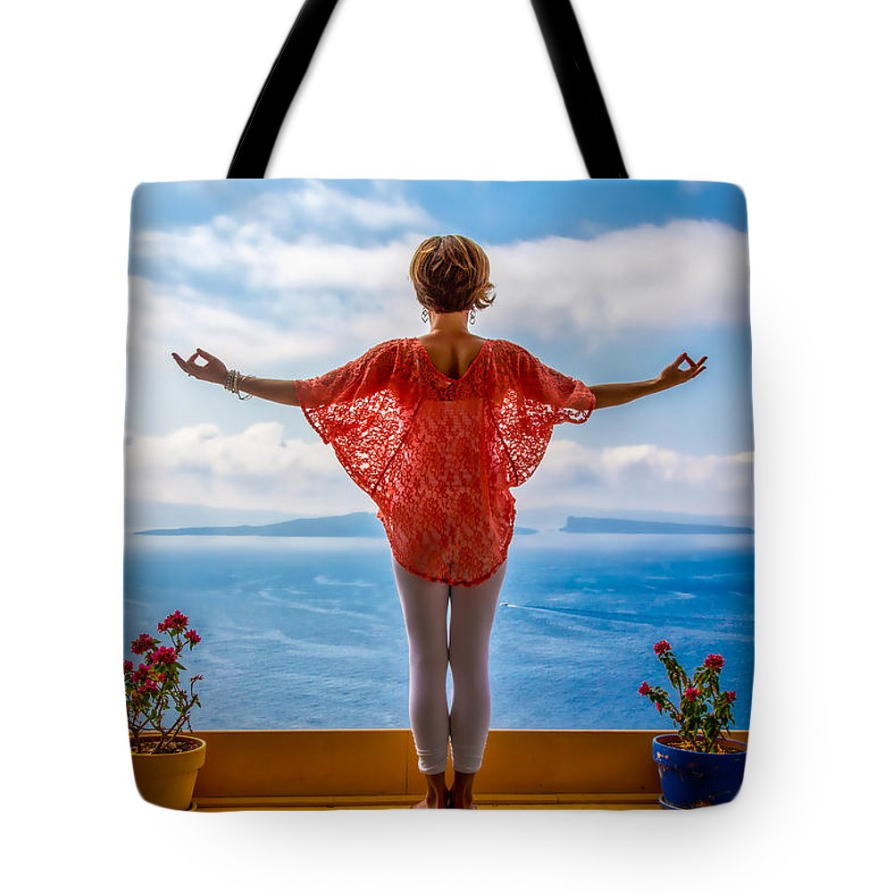 Santorini Tote Bag featuring the photograph Santorini Yoga Goddess by Stuart Smith