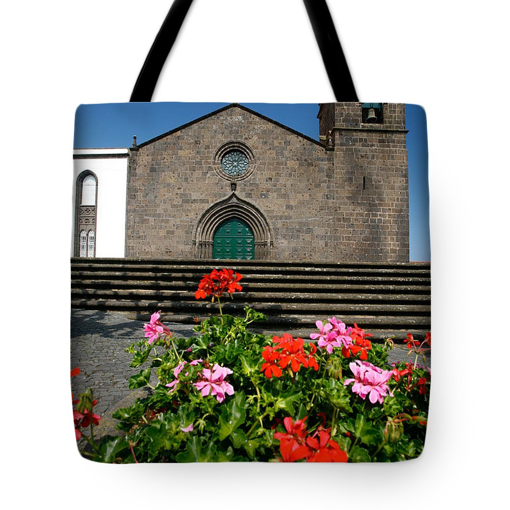 Azoren Tote Bag featuring the photograph Sao Miguel Arcanjo Church by Gaspar Avila