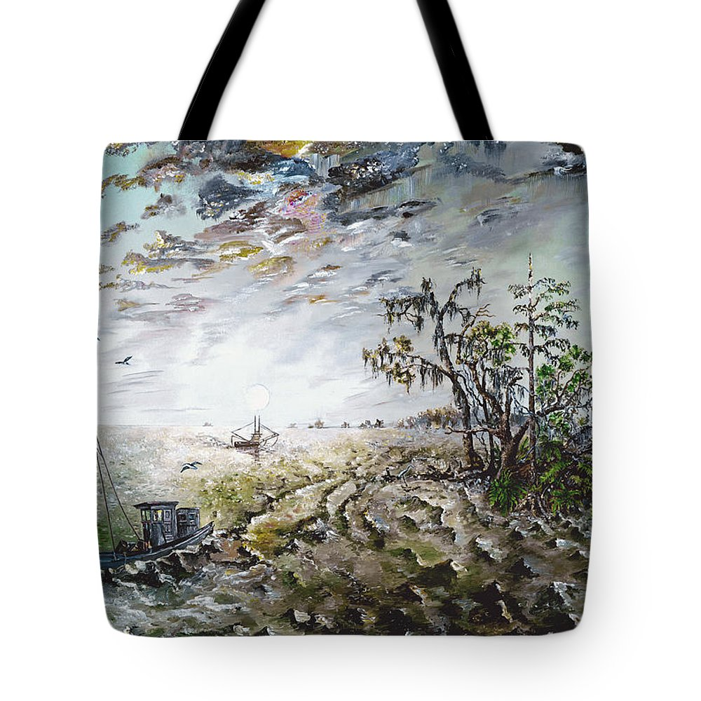 Lighthouse Tote Bag featuring the painting Sapelo Island by Richard Barham