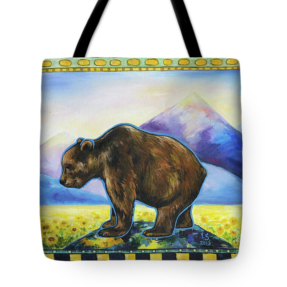 Bear Tote Bag featuring the painting Sapient by Yana Sadykova