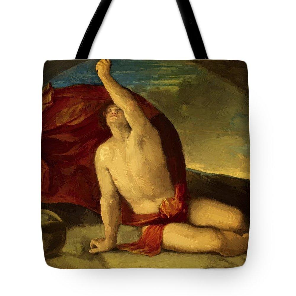 Sapiente Tote Bag featuring the painting Sapiente Con Compasso E Globo by Dossi Dosso