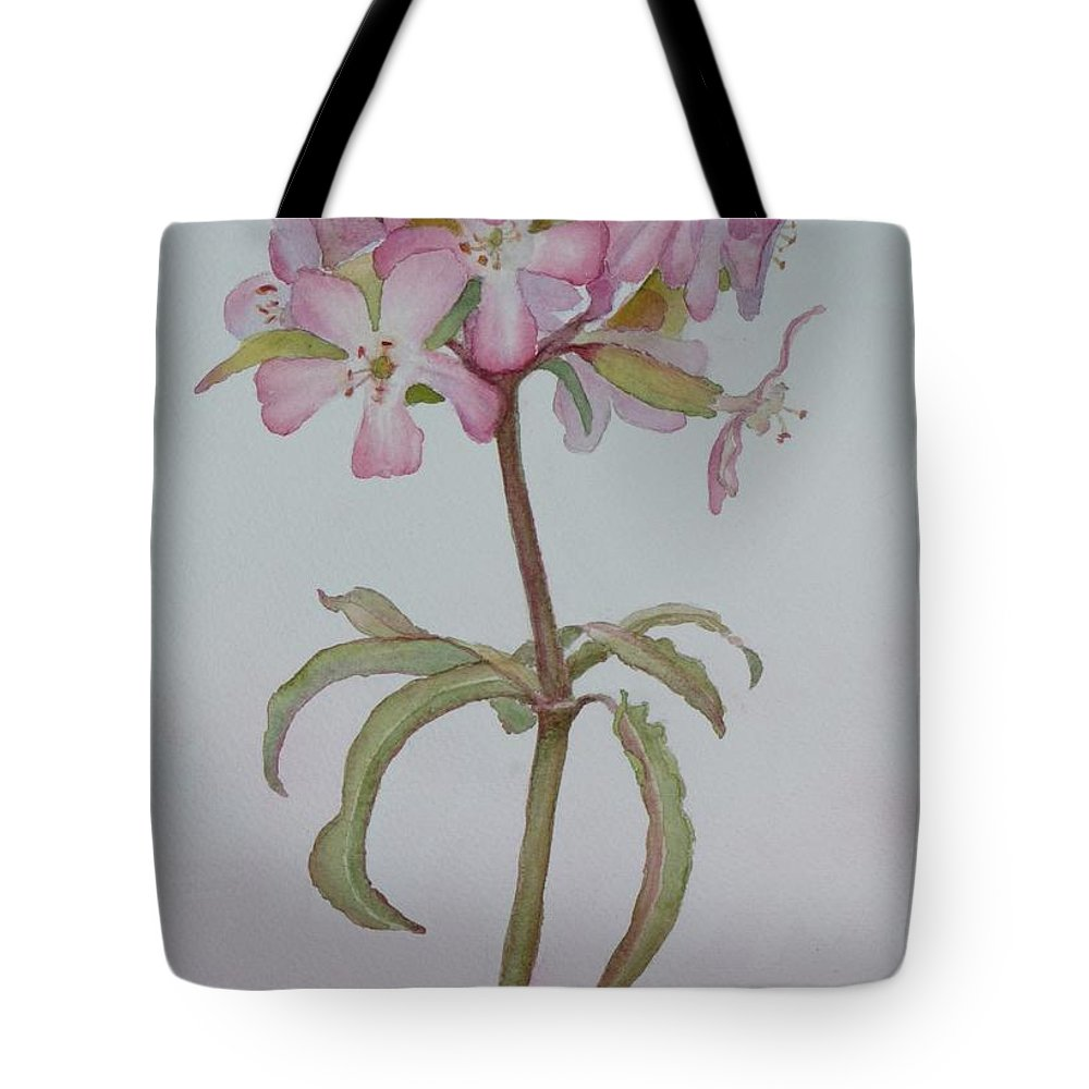 Flower Tote Bag featuring the painting Saponaria by Ruth Kamenev