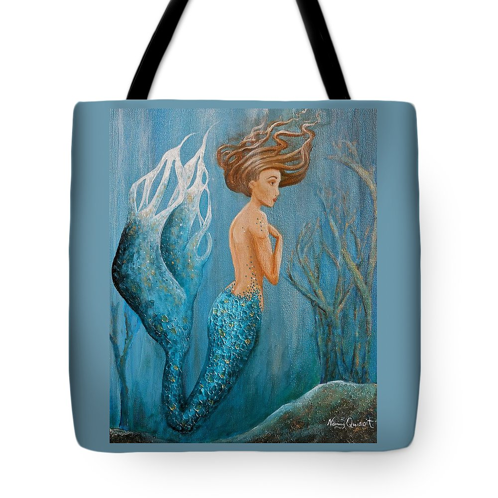 Teal Mermaid Tote Bag featuring the painting Sapphire by Nancy Quiaoit